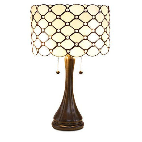 Serena D'italia Tiffany Style Table Lamps Contemporary, Diamond Pattern Stained Glass Lamp with Jewels, Standing Lamp with Double Pull Chain (White)