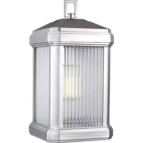 Sea Gull Lighting Sea Gull 8747431-753 Transitional One Light Outdoor Wall Lantern from Gaelan Collection in Pwt, Nckl, B/S, Slvr. Finish, Large Rectangular, Painted Brushed Nickel