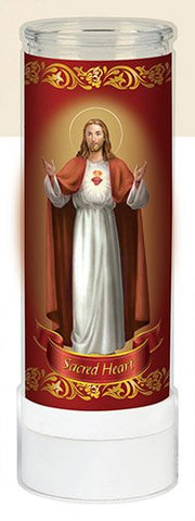 "Religious Sacred Heart of Jesus Electric Prayer flameless LED Light Adoration Candle (8""Tall)-Veladora de Oraci├│n sin Llama - llightsdaddy - CB - Flameless Candles"