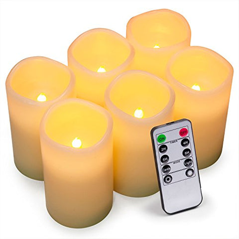 "Geelywax Battery Operated LED Flameless Candles with Remote Control and Timer, 3""x5"" (6 Pack) - llightsdaddy - Lingyun - Flameless Candles"