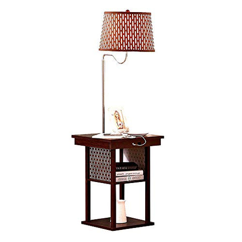 Free Standing Lamp Light with Shade and Built-in Side End Table for Home Office Living Room Bedroom Task Lamp Brown Elegant Stylish Atmosphere Enhancing & eBook by Easy&FunDeals - llightsdaddy - EFD - Lamp Shades