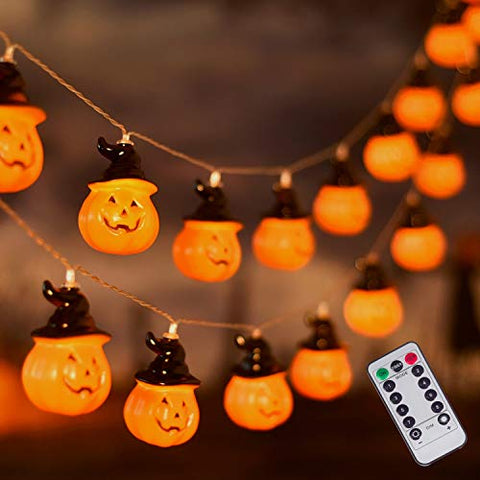Halloween Witches Hat Pumpkin String Lights, 30 LED Battery Operated Decorative Lights, Waterproof Twinkle Lights for Halloween Thanksgiving Decoration (Orange)