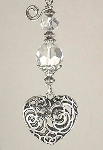 Silvery Puffed Scrollwork Heart and Crystal Clear Glass Light or Ceiling Fan Pull - llightsdaddy - Trace Ellements Ceiling Fan Pulls - Pull Chains