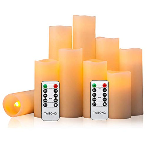 "Flameless Candles Battery Operated Candles 4"" 5"" 6"" 7"" 8"" 9"" Set of 9 Ivory Real Wax Pillar LED Candles with 10-Key Remote and Cycling 24 Hours Timer (Ivory, 9 PACK) - llightsdaddy - HYW - Flameless Candles"