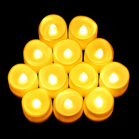 (Upgraded) Flameless Candles 12 PCS LED Tea Light Candles Realistic Flickering Votive Candle Lights for Christmas Party & Wedding Decor Wave Open Battery Included (No Remote)