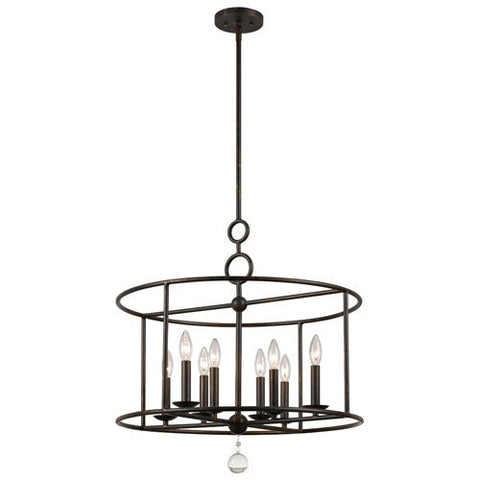 Crystorama 9166-EB Crystal Accents Eight Light Chandeliers from Cameron collection in Bronze/Darkfinish,