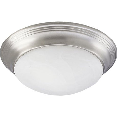 Progress Lighting P3689-09 Transitional Two Light Close-to-Ceiling from Alabaster Glass Collection in Pwt, Nckl, B/S, Slvr. Finish, 14-Inch Diameter x 4-3/4-Inch Height, Brushed Nickel