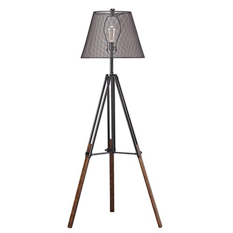 Ashley Furniture Signature Design - Leolyn Floor Lamp with Metal Shade - Adjustable Height -Black and Brown - llightsdaddy - Signature Design by Ashley - Lamp Shades