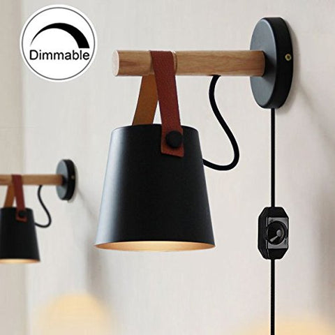 ANYE Iron Art Belt Wall Lamp Loft Style Wall Lamp For Bathroom Dining Room With UL Certified Dimmer Switch Cord Bulb Not Included (Black) - llightsdaddy - ANYE - Lamp Shades