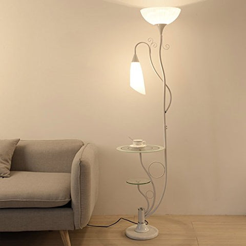 Modern Floor Lamp,with Glass Shelves, 2 Light White Acrylic Lampshade, Uplighter Light Lamp Stands Lamp for Living Room, H164cm (Color : White) - llightsdaddy - LOFAMI - Lamp Shades