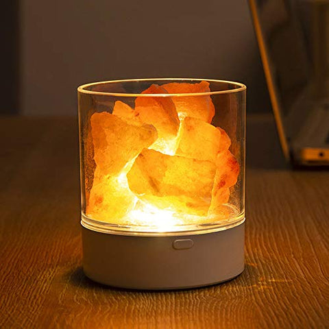 Himalayan Salt Lamp, USB Natural Crystal Salt Rock Lamp with 7 Colors Changing, Great Gifts for Home Office Hotel Decor, No Installation Required (7 Colors)