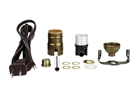Aspen Creative 21020, Table Lamp Socket Kit in Antique Brass