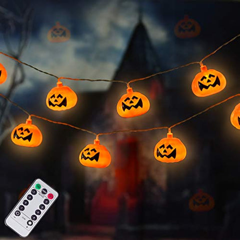 DAYLIGHTIR 20 LED Pumpkin Halloween String Lights, Jack-O-Lantern Night Lamp Decoration for Thanksgiving Halloween Birthday Gift Autumn Indoor Outdoor Parties Home Bedroom