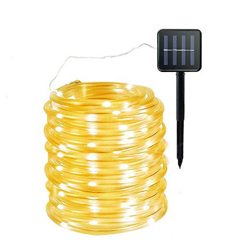 Mingzhe Solar Rope Lights 40Ft 100Led, 8 Mode Waterproof Clear Fairy String Light, Solar Powered, For Xmas Garden Backyards Home Decoration