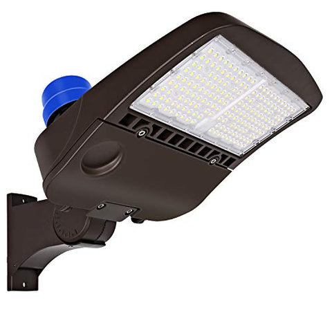 Hykolity 150W LED Parking Lot Light with Photocell, 19500lm 5000K Waterproof LED Shoebox Fixture, Outdoor Pole Mount Light for Large Area Lighting [400w HPS Equivalent] Arm Mount DLC Complied