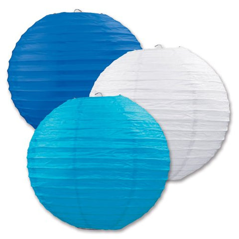 "Paper Lanterns (Blue/White/Torquoise) 9.5"" Party Accessory"