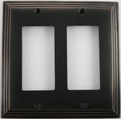 Deco Step Style Oil Rubbed Bronze 2 Gang GFI/Rocker Wall Plate - llightsdaddy - Classic Accents - Wall Plates