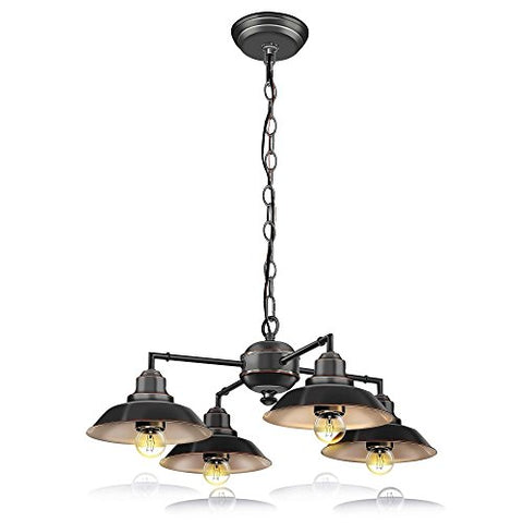 SereneLife Home Lighting Fixture - Metal Accent Classic Vintage Style Chandelier Pendant Hanging Ceiling Light with 4 Single Bulb Rustic Traditional Lamp Shade, US Standard Screw-in Sockets (SLLMP414) - llightsdaddy - Serene Life - Island Lights