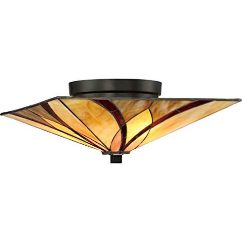"Quoizel TFAS1615VA Asheville Tiffany Flush Mount Ceiling Lighting, 2-Light, 120 Watts, Valiant Bronze (7"" H x 15"" W) - llightsdaddy - Quoizel - Ceiling Lights"