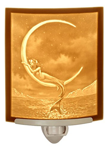 Mermaid and the Moon CURVED Porcelain Lithophane Nightlight - llightsdaddy - The Porcelain Garden - Night Lights