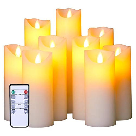 Flameless LED Candles Set of 9 Real Wax Candles 10-Key Remote Control with Timer Function 300+ Hours by 2 AA Batteries Waterproof Outdoor Indoor Candles for Gift, Wedding, Votive, Yoga and Deco - llightsdaddy - Tiffany Laurie - Flameless Candles