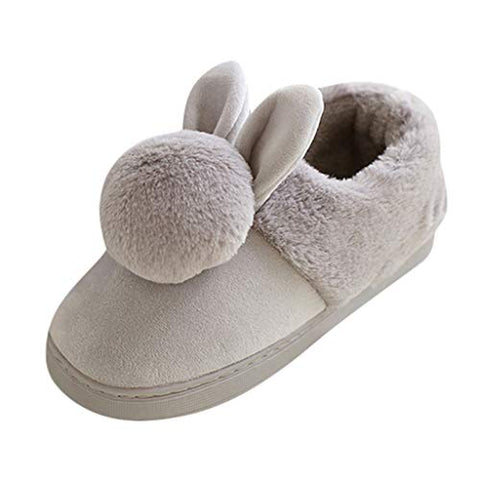 Gleamfut Womens Cotton Slippers Rabbit Pattern Plus Plush Soft Warm Cotton Shoes Winter Home Indoors Slippers Gray