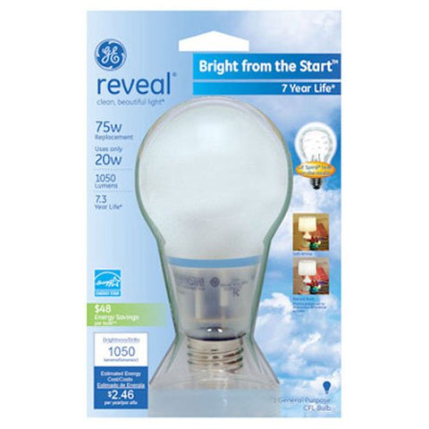 GE Lighting 63509 Reveal Bright from the Start CFL 20-Watt (75-watt replacement) 1050-Lumen A21 Light Bulb with Medium Base, 1-Pack