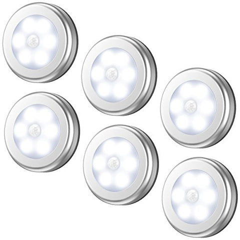 Amir Motion Sensor Light, Cordless Battery-Powered Led Night Light, Stick-Anywhere Closet Lights Stair Lights, Puck Lights, Safe Lights For Hallway, Bathroom, Bedroom, Kitchen, Etc.(White - Pack Of 6) - llightsdaddy - Amir - Lights