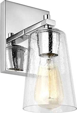 "Feiss VS24301CH Mercer Glass Wall Sconce Lighting, Chrome, 1-Light (5""W x 9""H) 60watts"