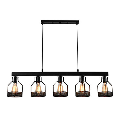 Industrial Kitchen Chandelier Island Light, NIUYAO Antique Black Metal Cage Hanging Long Pendant Light for Dining Room, Kitchen Island, Cafe Bar 511196 - llightsdaddy - NIUYAO - Island Lights