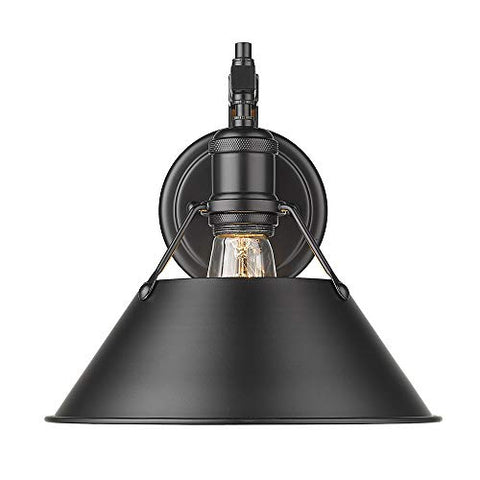 Golden Lighting 3306-1W BLK Orwell Sconce, Matte Black
