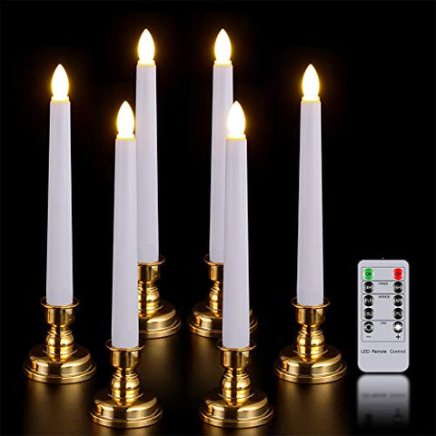 Window Candles with Remote Timer, PChero 6 Packs Battery Operated Warm White LED Flameless Taper Candles with Golden Removable Candle Holders, Perfect for Party Wedding Christmas Table Decoration - llightsdaddy - PChero - Flameless Candles