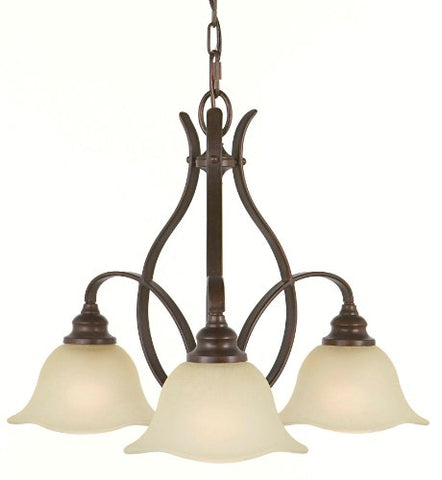 Feiss F2049/3GBZ Morningside Glass Mini Chandelier Lighting Bronze 3-Light (24Dia x 18H) 300watts