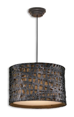 Aged Black Alita 3 Light Metal Hanging Shade Pendant From The Naturals Collection