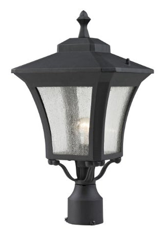 Z-Lite 535PHM-BK Waterdown Outdoor Post Light, Aluminum Frame, Sand Black Finish and Clear Seedy Shade of Glass Material - llightsdaddy - Z-Lite - Post Lights