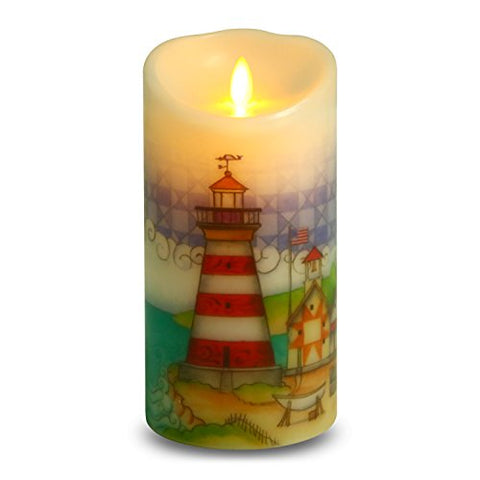 Ksperway Flameless Wax Candles, Moving Wick LED Pillar Candle with Blow ON/Off Control,Timer and Remote 3.5 by 7 Inch Picture (Lighthouse) - llightsdaddy - Ksperway - Flameless Candles