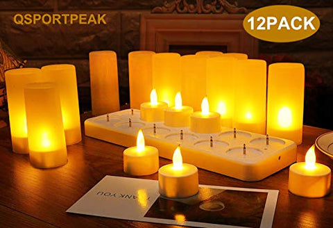 LED Rechargeable Tea Light Tealight Flameless Candles Light with Holders Charging Station Realistic Dancing Flame, Gift Decoration for Party Holiday Christmas (Yellow, 12pcs) - llightsdaddy - QSPORTPEAK - Flameless Candles