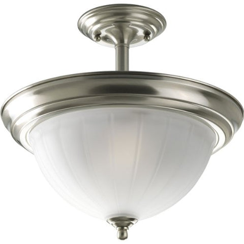 Progress Lighting P3876-09 2-Light Semi-Flush with Etched Glass, Brushed Nickel