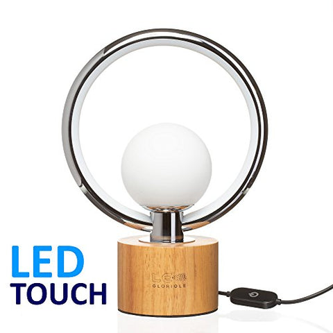 Modern LEDGloriole Desk Lamp with Unique Shade Bedroom Lamps with Natural Wooden Base Luxury Bedside Table Lamp Well-Designed LED Light Perfect for Bedroom or Office - llightsdaddy - LEDGloriole - Table Lamp