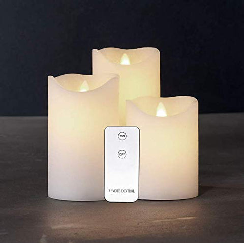 "Flameless Pillar Candles with On/Off Remote Set of 3(4""/5""/6""), LED Battery Operated Scented Flickering Wax Set Candles for Bathroom, Kitchen, Home Decoration, Reusable, White - llightsdaddy - Aimetech - Flameless Candles"