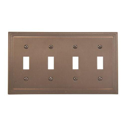 Amerelle Steps Quadruple Toggle Cast Metal Wallplate in Aged Bronze - llightsdaddy - Classic Accents - Wall Plates