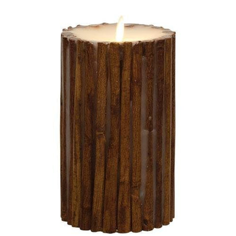 "Luminara Cinnamon Stick Flameless Candle Pillar EMBEDDED with REAL CINNAMON STICKS | 4"" In. x 7"" In. Tall 