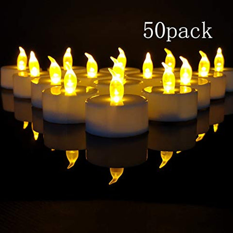 TEECOO Tea Lights, Flickering LED Tea Light Candles Flameless Candles LED Candles 3.4 x H3.6 50-Pack Battery Powered 100+ Hours(Warm Yellow,50-Pack) - llightsdaddy - JHT - Flameless Candles
