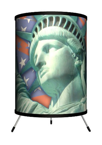 "Lamp-In-A-Box TRI-TRV-FLLIB Travel - Flag with Statue of Liberty Tripod Lamp, 14"" x 8"" x 8"""