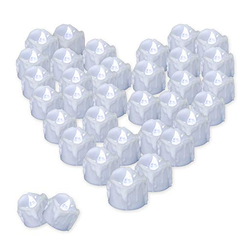 Youngerbaby 12PCS LED Tea Lights with Timer Cool White Flickering Timing Function Flameless Small Candles with Timer(6 hrs on 18 hrs Off),Battery Operated Electronic Candles - llightsdaddy - Youngerbaby - Flameless Candles