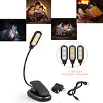 LED Reading Light Best Book Light LED Book Light Rechargeable 5-Level Brightness (Cool and Warm) and Flexible Easy Clip On Lamp, Eye Protection Brightness, Soft Table Light for Night Reading - llightsdaddy - Xinblue baby - Book Lights