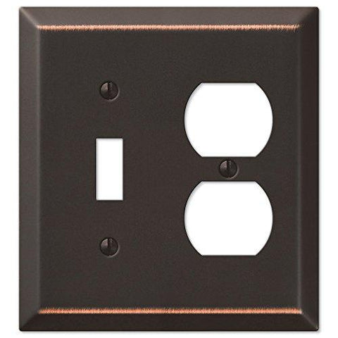 Amerelle Century Single Toggle/Single Duplex Steel Wallplate in Aged Bronze - llightsdaddy - AMERELLE - Wall Plates