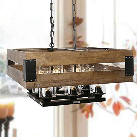 LNC Wood 8-Light Kitchen Island Pendant Large Farmhouse Dining Room Chandelier with Clear Glass Shade, A02986 - llightsdaddy - LNC - Island Lights