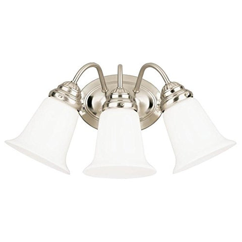 Westinghouse Lighting 6649700 Three-Light Interior Wall Fixture, Brushed Nickel Finish with White Opal Glass