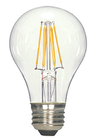 Satco S9562 A19 LED Clear Medium Base Light Bulb, 7W, 810Lm/Meduim, Household A19-Shape